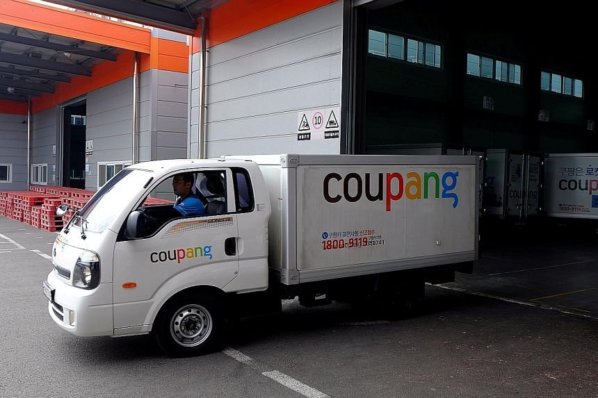 A Coupang delivery truck leaving a distribution centre in Seoul in 2018. Last week, The Korea Economic Daily newspaper reported that Coupang, which is listed on the New York Stock Exchange, will be expanding globally by entering the Singapore market.