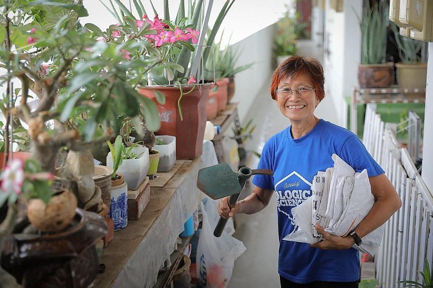 Ms Liow Oi Lian, 57, began making compost in 2013 to cut food waste and regenerate garden soil. Ms Padmarani Srivatsan, 56, also reduces waste through composting - she makes compost by mixing food waste, dried leaves and homemade yogurt, and teaches