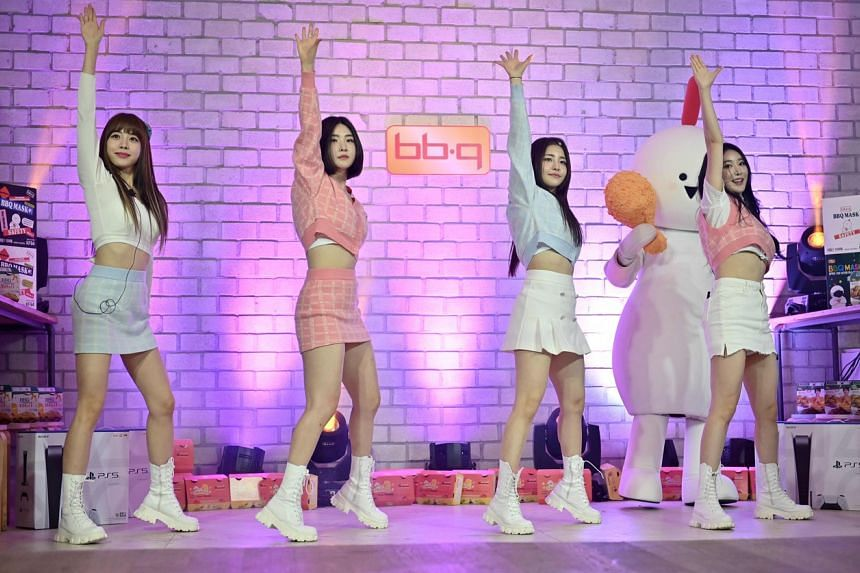 Brave Girls performing during a rehearsal for a live-streamed commercial event on YouTube in Gwacheon, Seoul, on March 27, 2021.