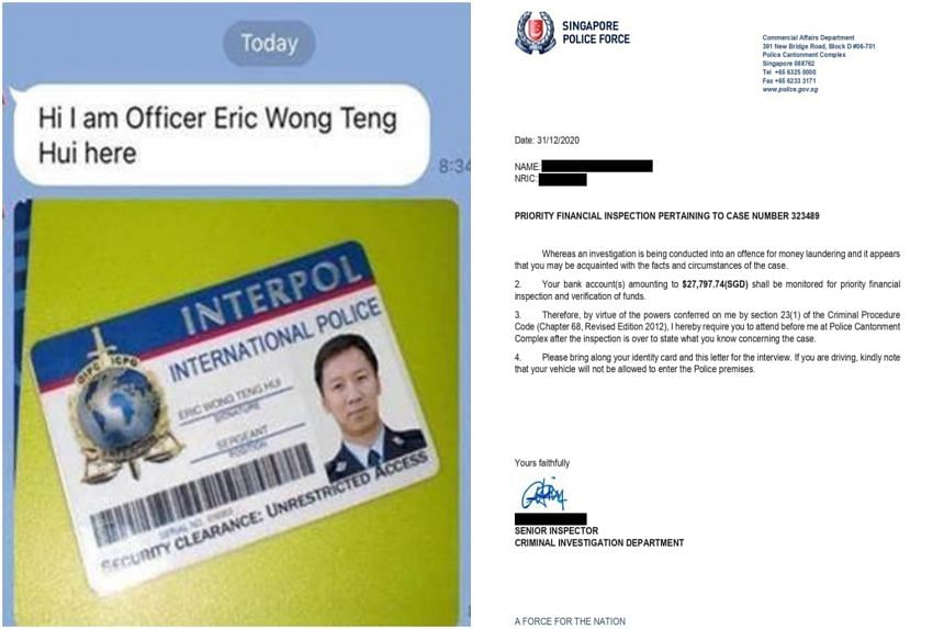 Victims were shown a fake Interpol International police pass and a letter from the Singapore Police Force.