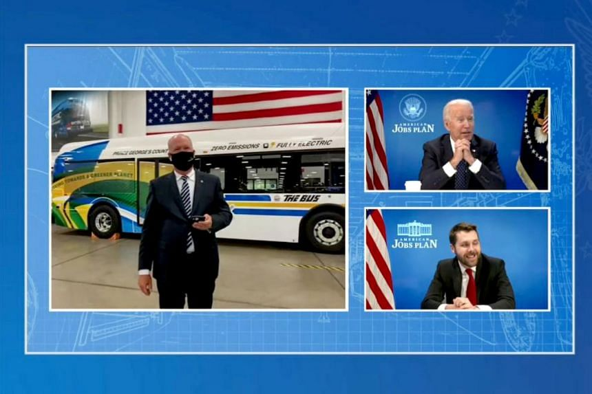 """Mr Joe Biden (top, right) has made a """"commitment that all American-made buses would be zero-emission by 2030""""."""