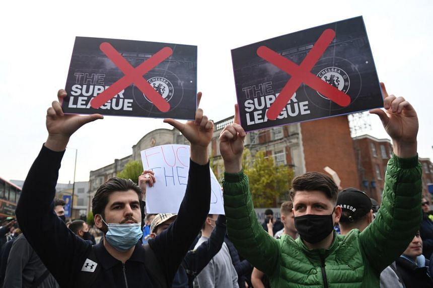 Fans stage a demonstration against the Super League before match between Chelsea FC and Brighton & Hove Albion FC.