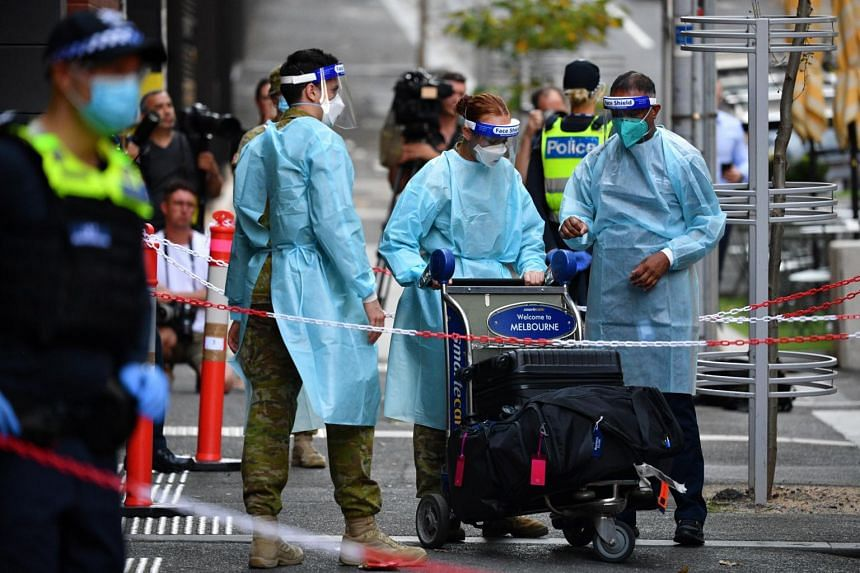 Two Australian states urged staff and guests in Covid-19 quarantine hotels to get tested immediately and fully self-isolate.