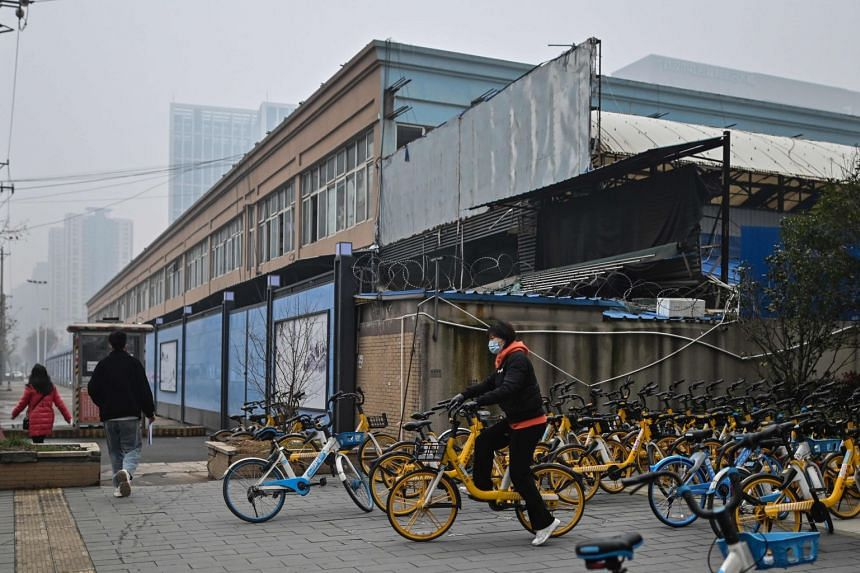 The closed Huanan wholesale seafood centre in Wuhan, where one of the first reported clusters of Covid-19 infections emerged.
