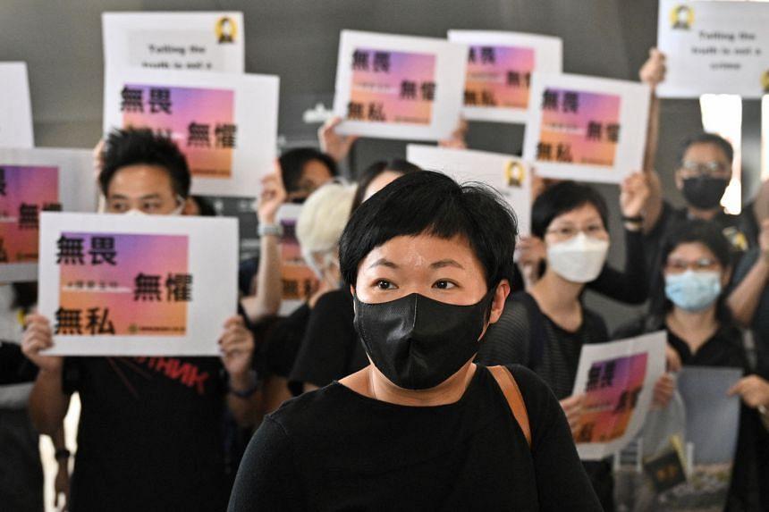 Radio Television Hong Kong producer Bao Choy arrives at the West Kowloon Courts building in Hong Kong, on April 22, 2021.
