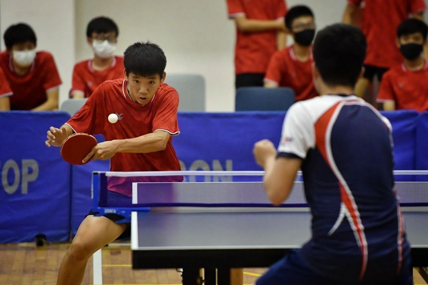 Tan Zhao Ray from Hwa Chong Institution plays against Alfred Ting from River Valley High School on April 22, 2021.