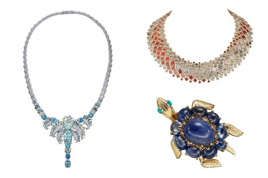 (Clockwise from left) [SUR]NATUREL Taha necklace, Cartier Peau de Croco necklace and Cartier Paris Turtle Clip-Brooch.