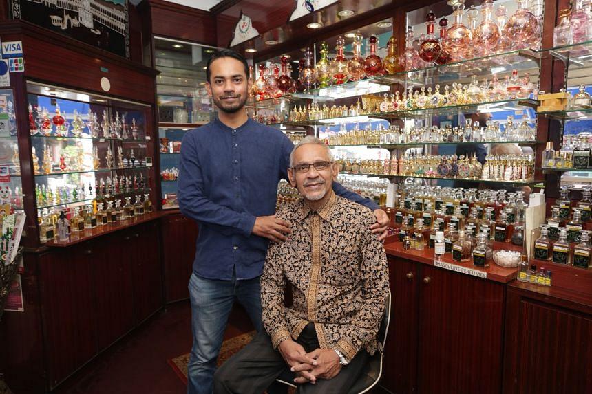 Mr Mohamed Jamal Mohamed Hanifa and his son, Mr Mohamed Samir Kazura, are the current owners of Jamal Kazura Aromatics, set up in 1933.