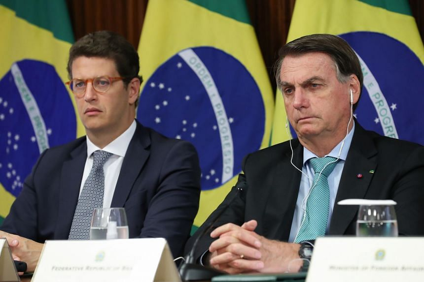 Brazilian President Jair Bolsonaro (right) is pictured attending the virtual summit with Environment Minister Ricardo Salles.