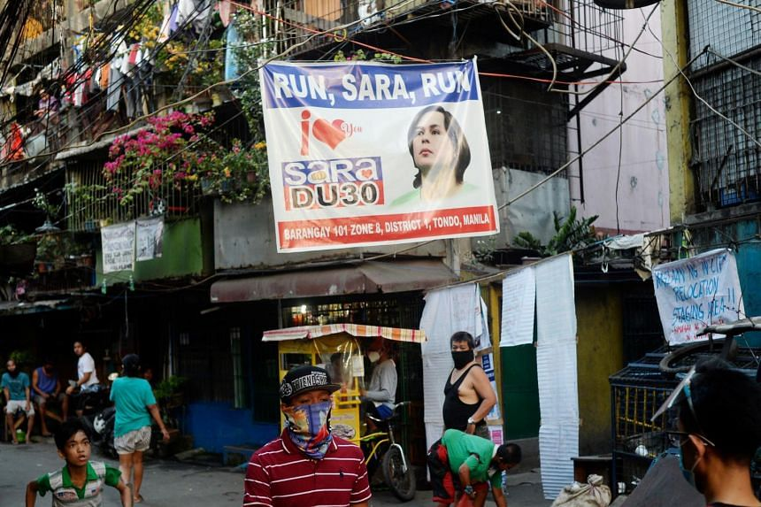 A banner showing support for Davao City Mayor Sara Duterte-Carpio in Manila on April 9.
