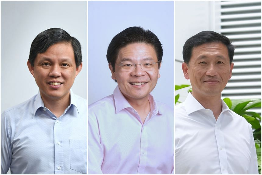 What has dominated online chatter are the movements of the key 4G leaders - specifically (from left) Mr Chan Chun Sing, Mr Lawrence Wong and Mr Ong Ye Kung.