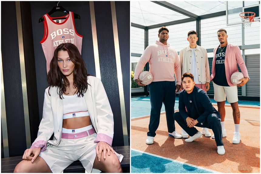 Model Bella Hadid (left) and the Singapore Slingers for the Boss and Russell Athletic collaboration.