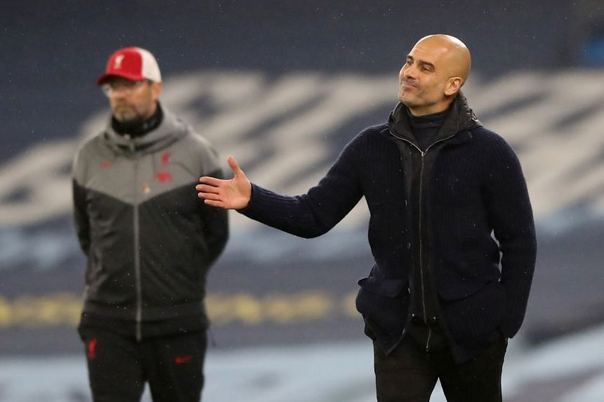 Klopp and Guardiola (right) fear the revamped Champions League format will push their players to breaking point.