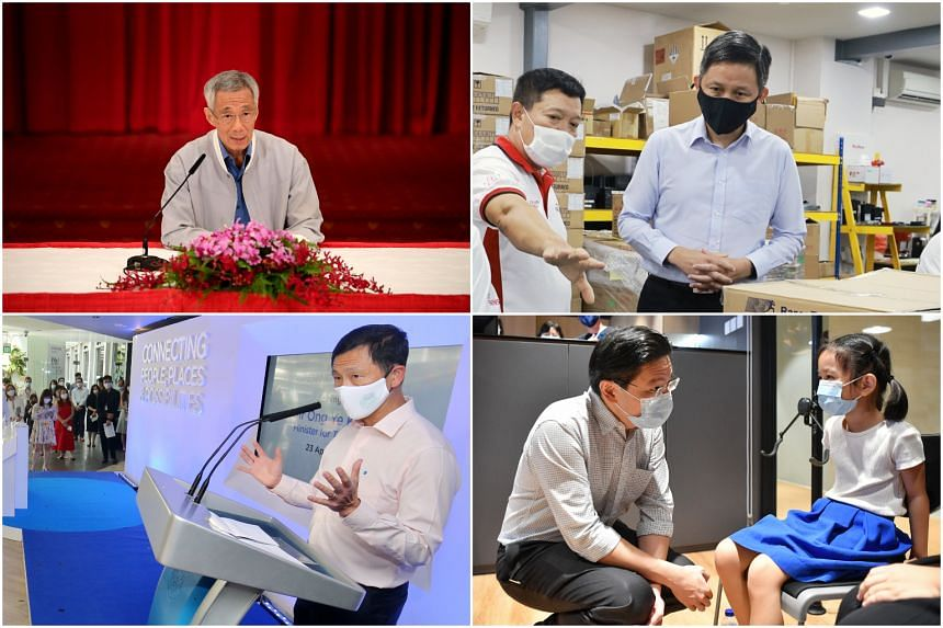 PM Lee Hsien Loong on Friday (April 23) announced major changes to his Cabinet. Among the ministers given new roles were (clockwise from top right) Mr Chan Chun Sing, Mr Lawrence Wong and Mr Ong Ye Kung.