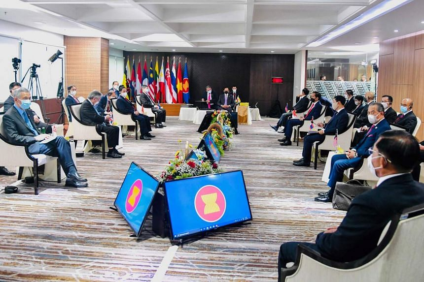 Leaders attending the Asean summit on the Myanmar crisis in Jakarta on April 24, 2021.
