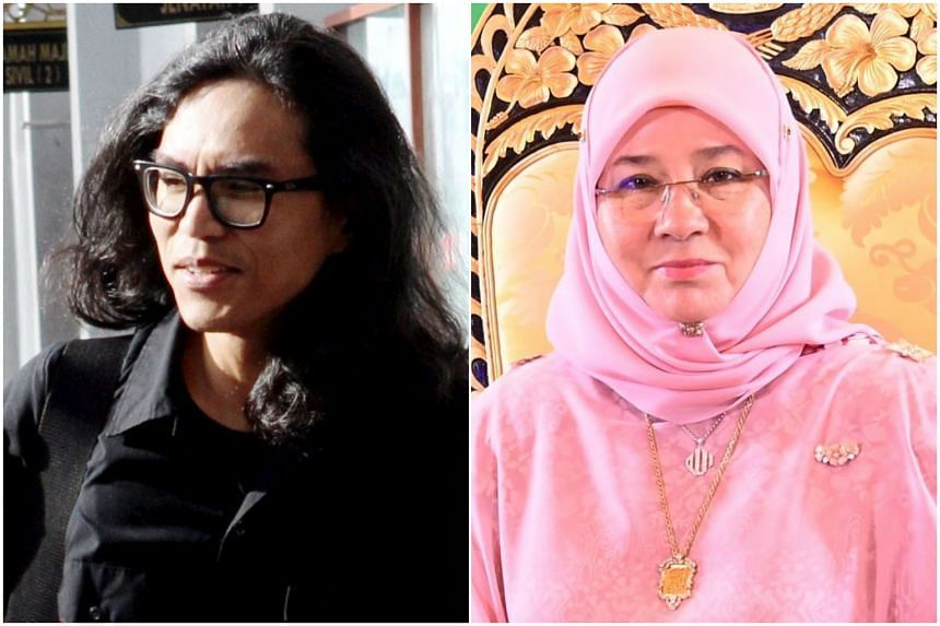 Fahmi Reza (left) had uploaded a Spotify playlist with songs containing the word 'jealousy', with a photo of Queen Tunku Azizah Aminah Maimunah Iskandariah.