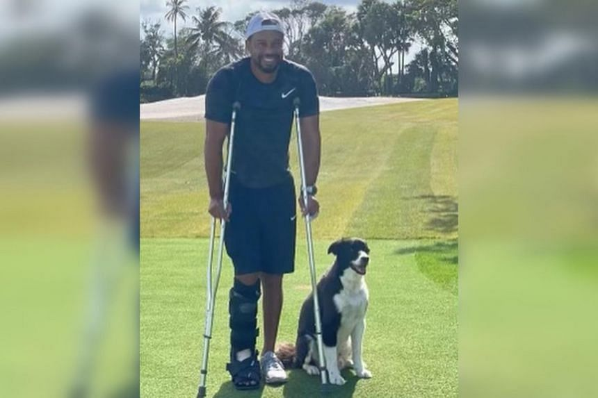 The image was the first of the golfer since he suffered serious right leg injuries in a one-car crash on Feb 23, 2021.