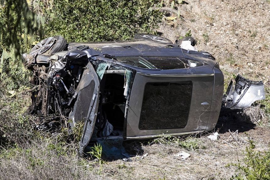 A Genesis GV80 SUV driven by Tiger Woods is seen at the scene of a single-vehicle crash in Rancho Palos Verdes, California, on Feb 23, 2021.