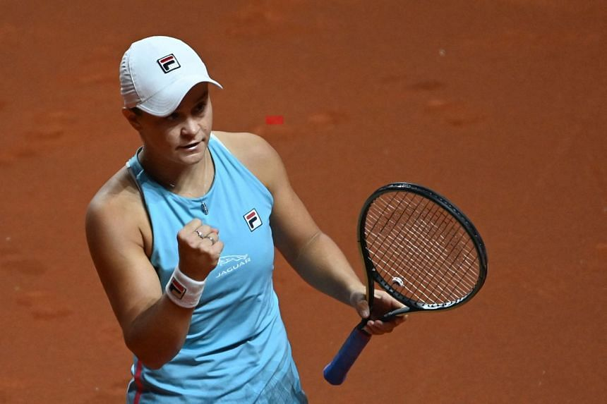 Barty reacts after winning against the Czech Republic's Karolina Pliskova.