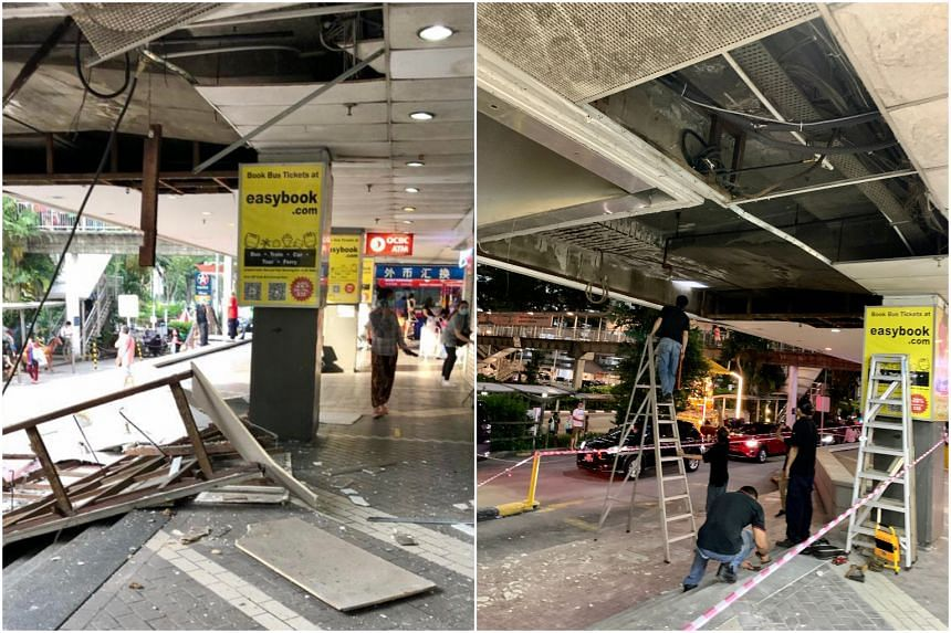 The area where the incident took place was cordoned off and workers were seen cleaning up the rubble later on Friday evening (April 23).
