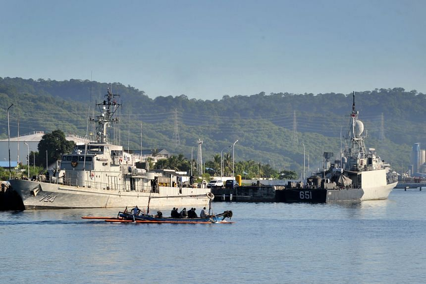 Indonesian Navy ships at the naval base in Banyuwangi on April 24 amid search operations for the missing submarine.
