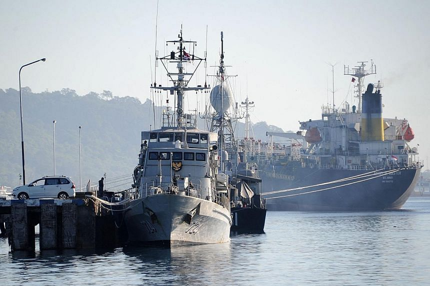 An Indonesian Navy ship seen at the naval base in Banyuwangi, East Java province, as the military continues its search for the KRI Nanggala-402 submarine that went missing last Wednesday during a training exercise.