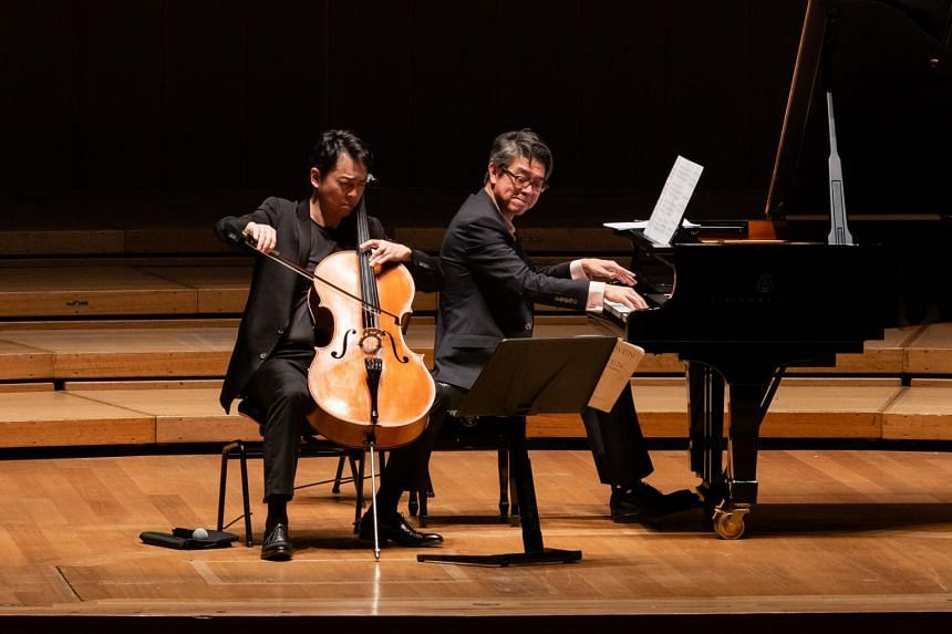 Cellist Qin Li-Wei and pianist Albert Tiu perform at Celebrating Beethoven: The Cello Sonatas at the Esplanade Concert Hall.