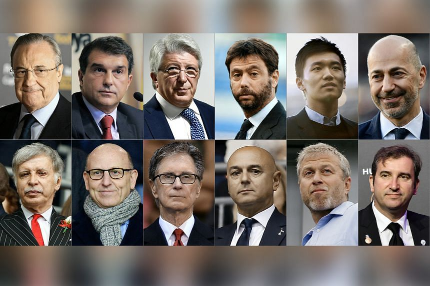 (top row from left) Florentino Perez, Real Madrid (Spain); Joan Laporta, Barcelona (Spain); Enrique Cerezo, Atletico Madrid (Spain); Andrea Agnelli, Juventus (Italy); Steven Zhang, Inter Milan (Italy); Ivan Gazidis, Ac Milan (Italy). (Row above from