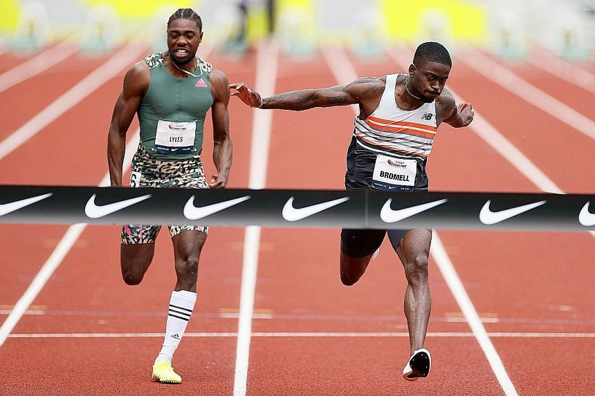 Trayvon Bromell beating Noah Lyles to win the 100m at the Oregon Relays on Saturday. He finished the race in 10.01 seconds.