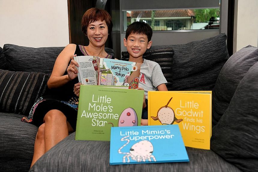 Author Emily Lim-Leh tapped her son Caleb (both above) for ideas for her new series, Marky Polo's Travels. She is also behind other books such as Little Mole's Awesome Star, Little Godwit Finds His Wings and Little Mimic's Superpower.