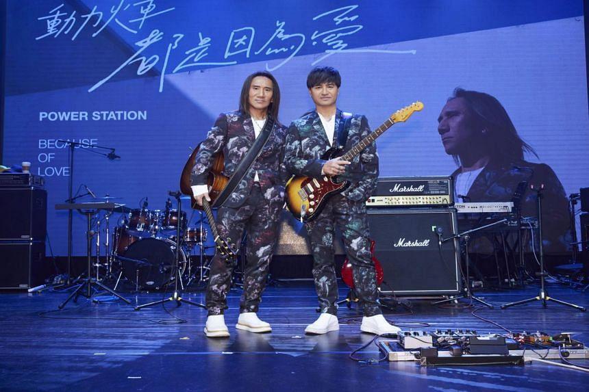 Yen Chih-lin (left) and Yu Chiu-hsin, members of Taiwanese rock duo Power Station.