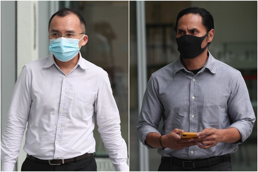 Last September, Kenneth Chong Chee Boon (left) and Nazhan Mohamed Nazi were sentenced to 10 weeks' jail.