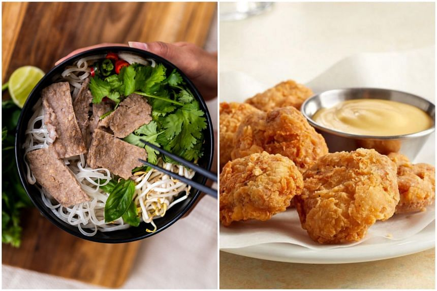 Gaia Foods' first structured beef prototype, served with rice noodles (left), and bite-sized cultured chicken by Californian start-up Eat Just.