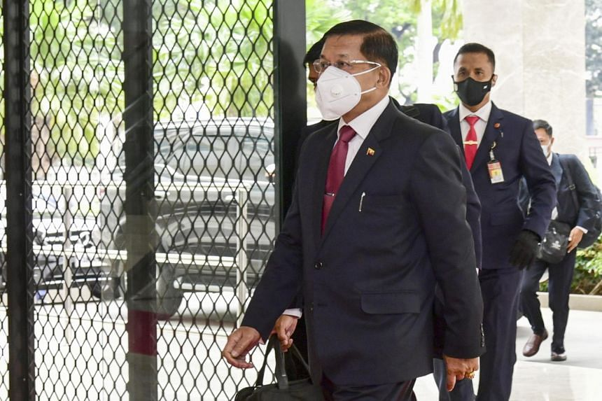 Junta leader Min Aung Hlaing arriving at Asean leaders' meeting in Jakarta on April 24, 2021.