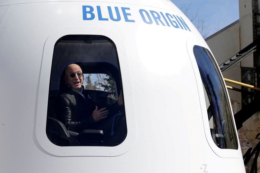 In a photo taken on April 5, 2017, Blue Origin founder Jeff Bezos addresses the media at the 33rd Space Symposium in Colorado, United States.