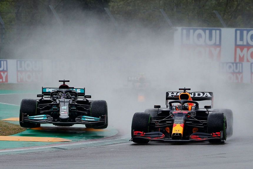 Red Bull's Max Verstappen and Mercedes' Lewis Hamilton in action during the Emilia Romagna grand prix.