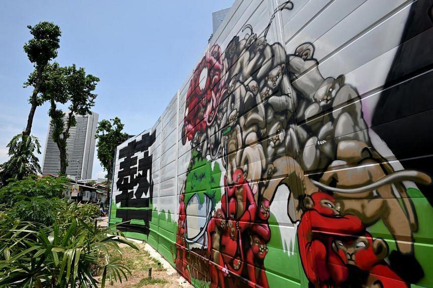 The official graffiti Hall of Fame along Bali Lane on April 28, 2021.