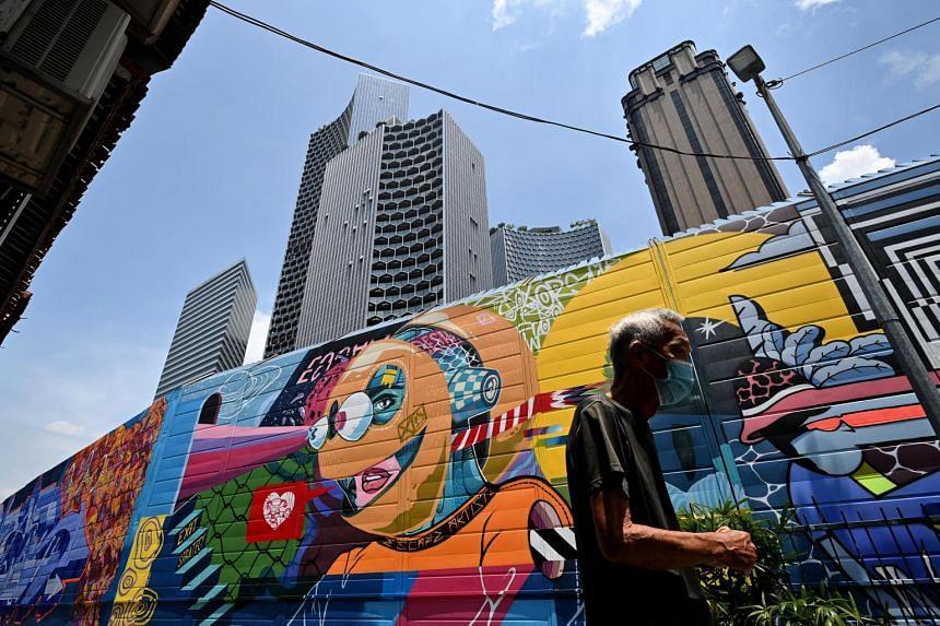The graffiti Hall of Fame along Bali Lane on April 28, 2021.