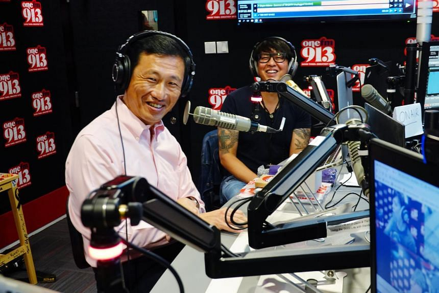 Minister for Transport Ong Ye Kung makes a radio appearance on ONE FM 913's The Big Show in the radio studio at SPH News Centre, on April 28, 2021.