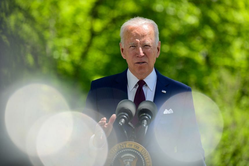 US President Joe Biden delivers remarks from the North Lawn of the White House on April 27, 2021.