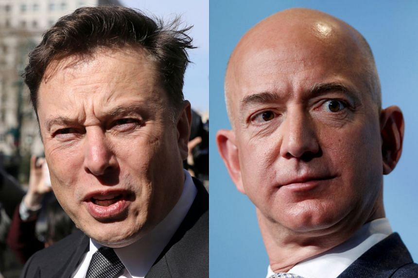 Tesla chief Elon Musk (left) took a swipe at Jeff Bezos' attempt to challenge a major Nasa contract.
