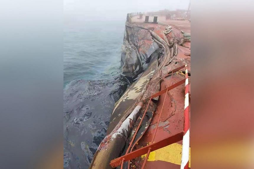 Liberia-flagged tanker A Symphony was at anchor when it was involved in a collision with bulk shipping vessel Sea Justice.