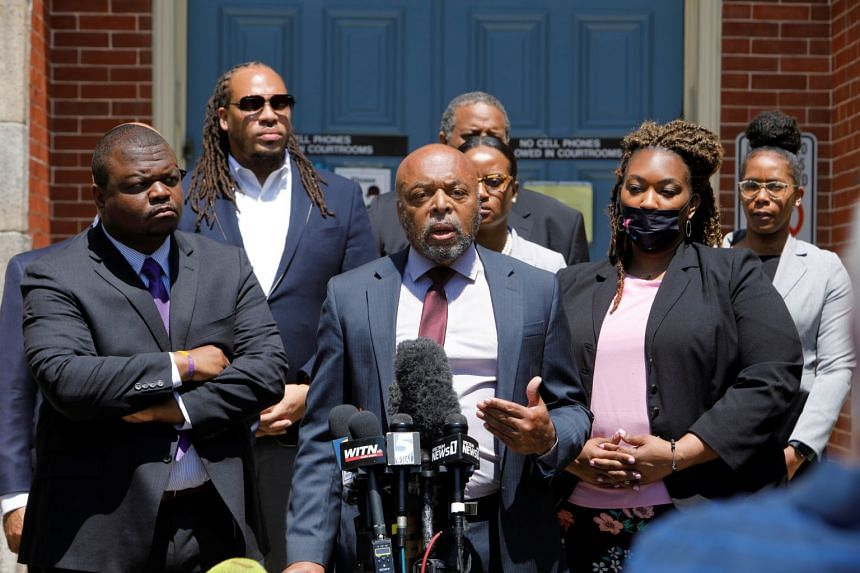 Wayne Kendall, a lawyer for the family of Andrew Brown Jr, speaks outside the courthouse after the hearing.