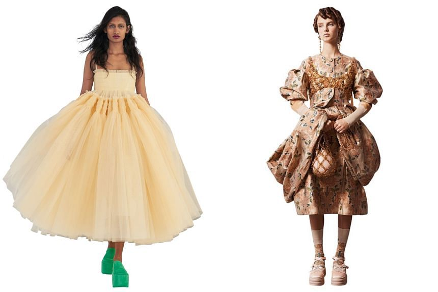 (From left) Style creations from Molly Goddard and Simone Rocha.