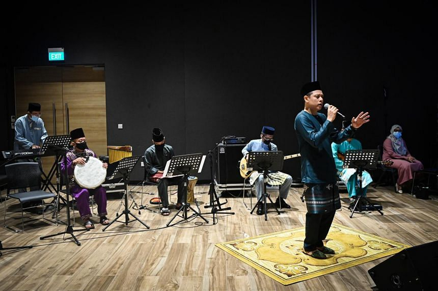 Mr Hady Mirza performing with the Singapore Malay Orchestra at Wisma Geylang Serai on April 29, 2021.