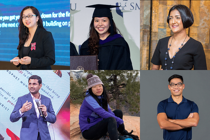 SMU graduates (first row, from left) Lim Kexin, Chow Zi En, Vanessa Paranjothy and (second row, from left) Mohamed Irshad, Shao Feiya and Tong Nhat Duong have gone on to make their mark in their respective industries. PHOTO: SMU