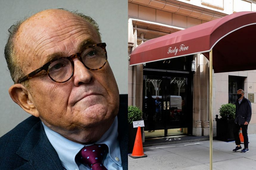 The entrance to the apartment building of Rudy Giuliani (above) is seen in Manhattan, New York City, on April 28, 2021.