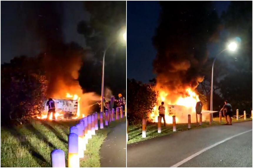 Shin Min Daily News reported that the van had lost control and crashed into some bushes before flipping over.