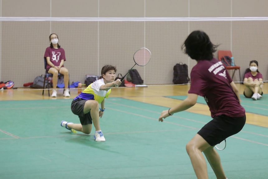 Grace Tan from Nanyang Girls' High School during the singles match, on April 29, 2021.