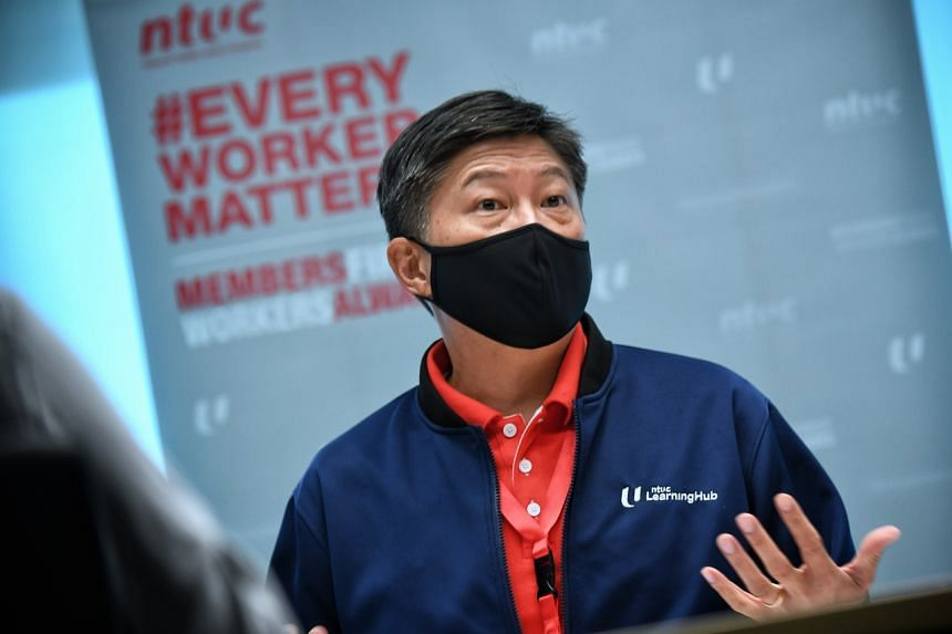 NTUC secretary-general Ng Chee Meng giving an update on the work done so far by a PME task force, helmed by NTUC and the Singapore National Employers Federation, on April 29, 2021.